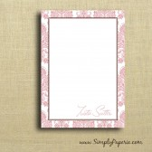 Pink Damask Personalized Notecards