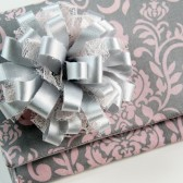 Danielle Clutch - Pink and Gray Damask Wedding Clutch
