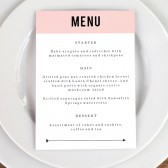 Wedding Menu Template - Pink Block