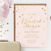 Pink and Gold Polka Dot Printable Shower Invitation
