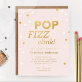 Pink and Gold Pop Fizz Clink Printable Bridal Shower Invitation