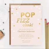 Pink and Gold Pop Fizz Clink Bridal Shower Invitation