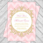 Pink and gold bridal shower invitation chevron