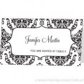 Place Card Template - Damask Frame