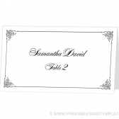 Place Card Template - Flourish Frame