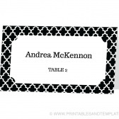 Place Card Template - Quatrefoil Design