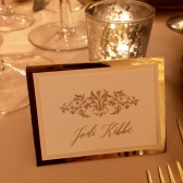 Place card in ivory, pink and gold