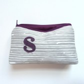 Plum and Gray stripes personalized makeup clutch