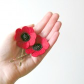 Felt Red Poppy Flower Hair Pins