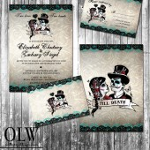 Calaveras Sugar Skull Wedding Invitation and RSVP