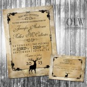 Rustic Woodland Wedding Invitation - Deer, Wood, Fall, Hunter
