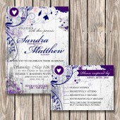Shabby Chic Fancy Flourishes on White Wood Background wedding invite stationery