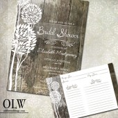 Rustic Wood Bridal Shower Invitations & Recipe Cards