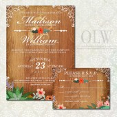 Rustic Wedding Invitation featuring vintage flowers on a rustic wood background