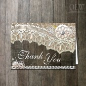 Rustic Wood Lace Thank You Card Printable