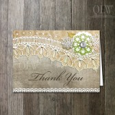Vintage Rustic Lace Thank You Cards