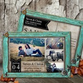 Rustic Wedding Save the Date - Rustic Turquoise Frame Photo Save the Date Postcard