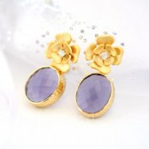 Purple and Gold, Flower Earrings, Purple Earrings, Gold Earrings