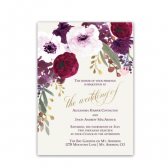 Watercolor floral wedding invitations designed with style and creativity. Moreover, this watercolor style invite boasts a cream background and burgundy, purple, gold and pink florals cascading from the top. A Beautiful script font complete the design.