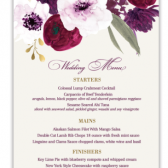 This unique wedding menu combines the simplicity of purple, plum and berry flowers cascading across the top of the design. Super modern fonts create a one of a kind wedding menu.