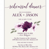 This fabulous Purple Watercolor Flowers Wedding Rehearsal Invitation boasts hand painted watercolor florals in purple with greenery. Additionally, gorgeous fonts complete the design. A charming purple floral rehearsal dinner invite with accents and wording in both in the same purple burgundy tone.
