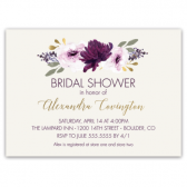 This rustic chic bridal shower invitation features hand painted watercolor flowers in tones of purples with greenery. In addition, gorgeous gold handwritten calligraphy fonts complete the design- now we're ready to shower the bride with love and good wishes!