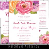 Rustic wedding Suite- the Painted Ranunculus - watercolor, floral, rustic vintage
