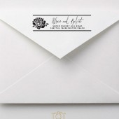 Rose Calligraphy Shabby Chic Custom Address Stamp – RC009