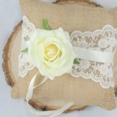 Wedding Ring Bearer Pillow, Burlap Wedding Pillow, Rose