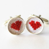 Cross Stitch Heart Cuff Links