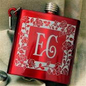 Red Rose Monogrammed Flasks, Bridesmaid Gifts