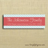 Red and Teal Striped Return Address Sticker