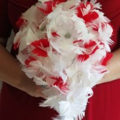 White & Red Cascade Feather Bouquet
