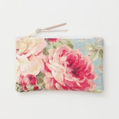 Floral and Taupe Leather Clutch