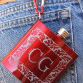 Red Monogrammed Flask