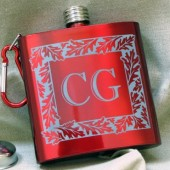 Red Groomsmen Hip Flasks