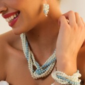 Renee - Multi-strand pearl and crystal necklace, bracelet and earrings set