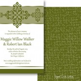 Elegant Green White Invitations