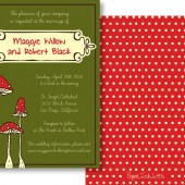 Green Red Mushroom Invitations