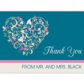Thank You Cards Teal with Heart