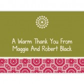 Green Red Thank You Cards