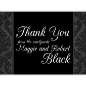 Black White Damask Thank You Cards