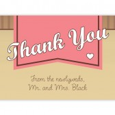 Pink Banner Thank You Cards