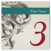 Teal Burgundy Table Numbers