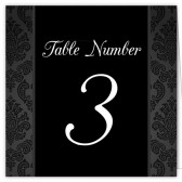 Black White Damask Table Numbers