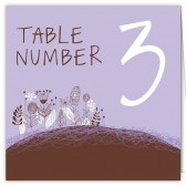 Purple Brown Floral Table Numbers