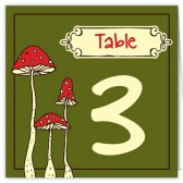 Green Red Mushroom Table Numbers
