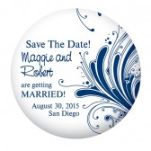 Save the Date Button Blue and White