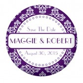 Purple White Button Favors