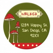 Green Red Mushroom Sticker Label